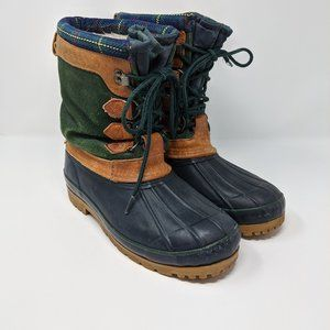 Eddie Bauer Green Suede Lace Up Duck Boots
